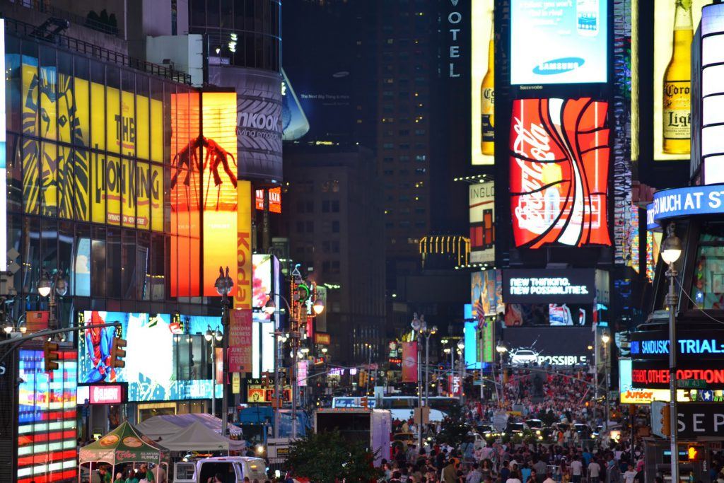A night shot of Times Square