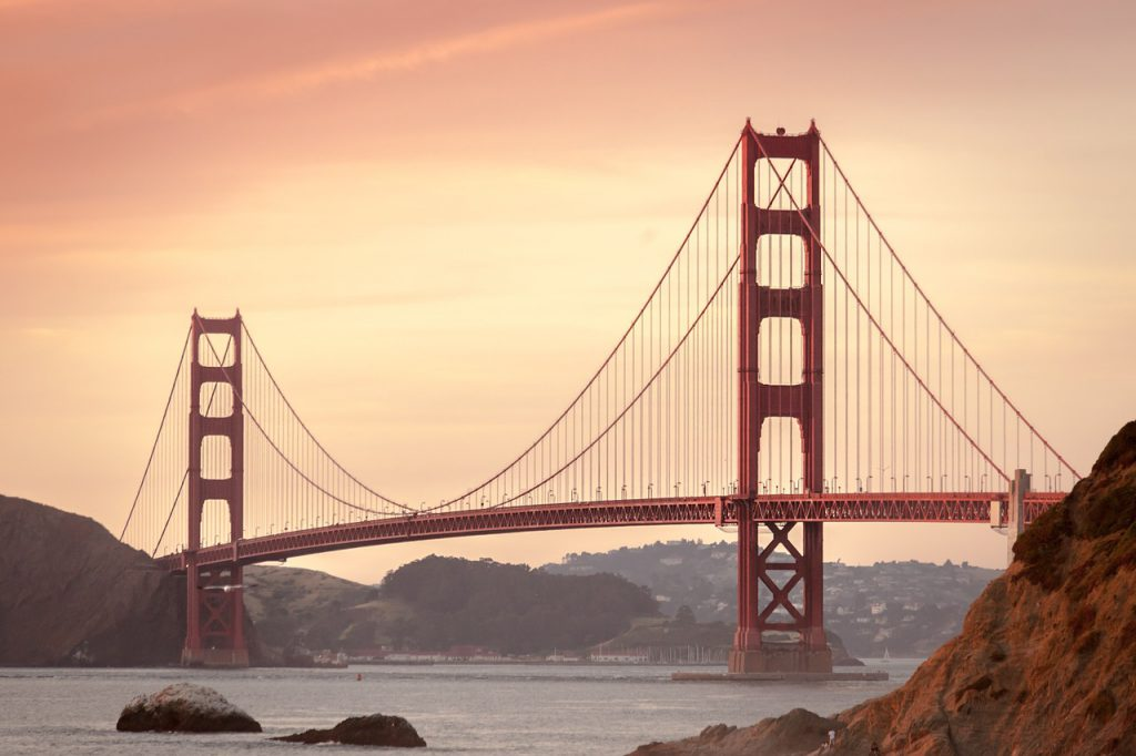 SF Golden Gate Bridge with both the spans visiible