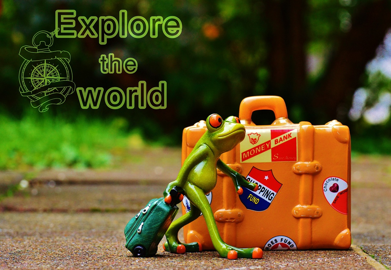 "Frog shown pulling a carry on, a yellow suitcase is also in the picture and there is ""explore the world"" written on the top left corner. This depicts travel arrangements too."