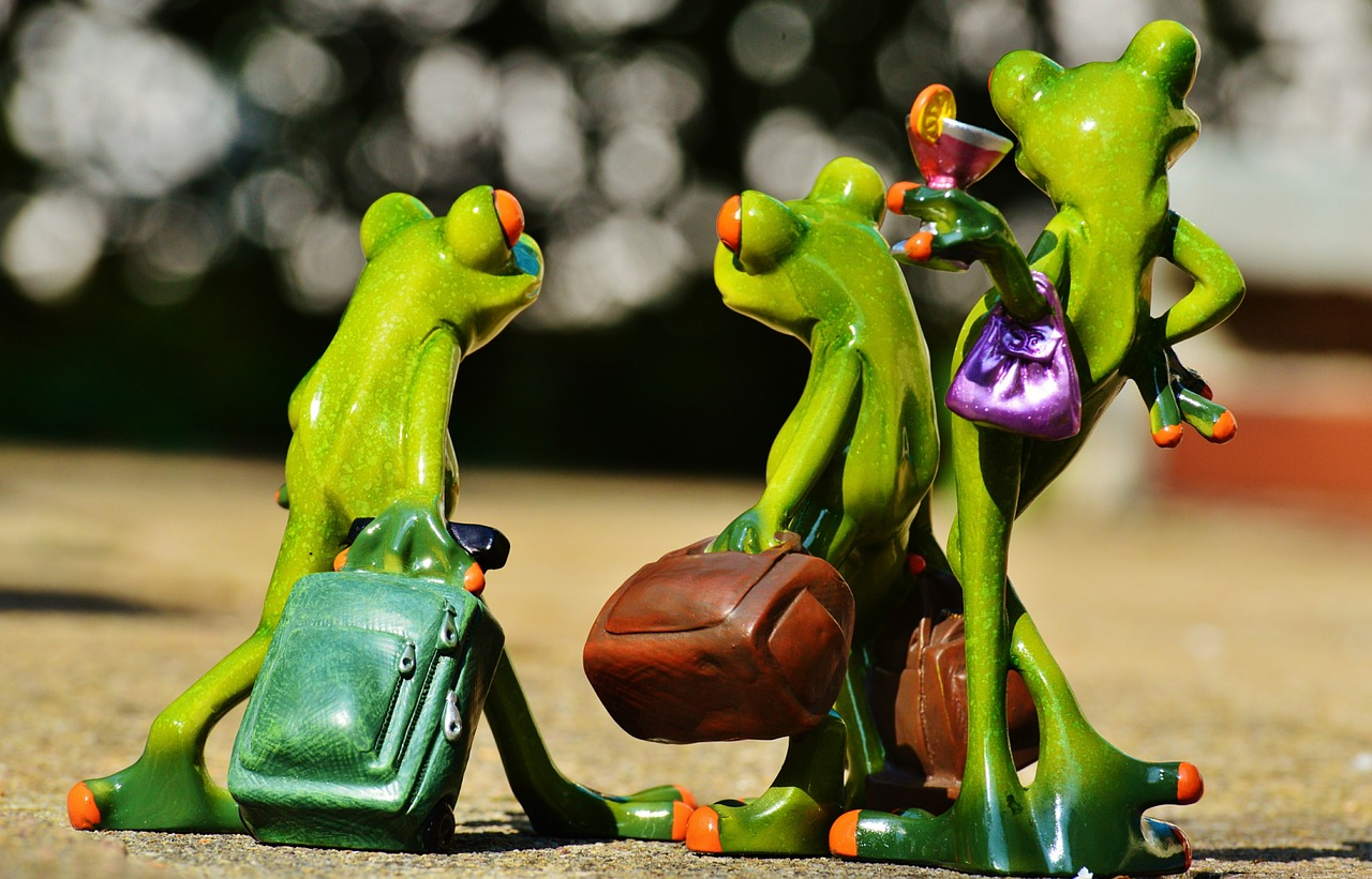 Two male and one female frog are shown travelling with their carry on to depict travel arrangements.