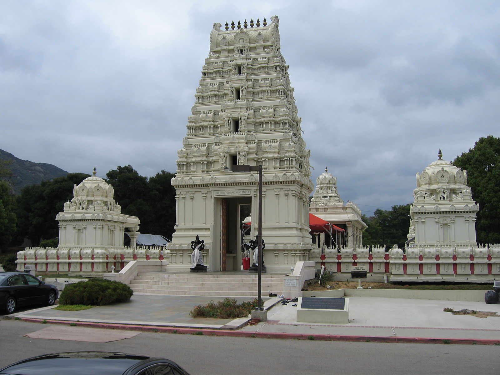 White stone entrance of the Malibu Hindu Temple in Calabasas with beautiful carvings.