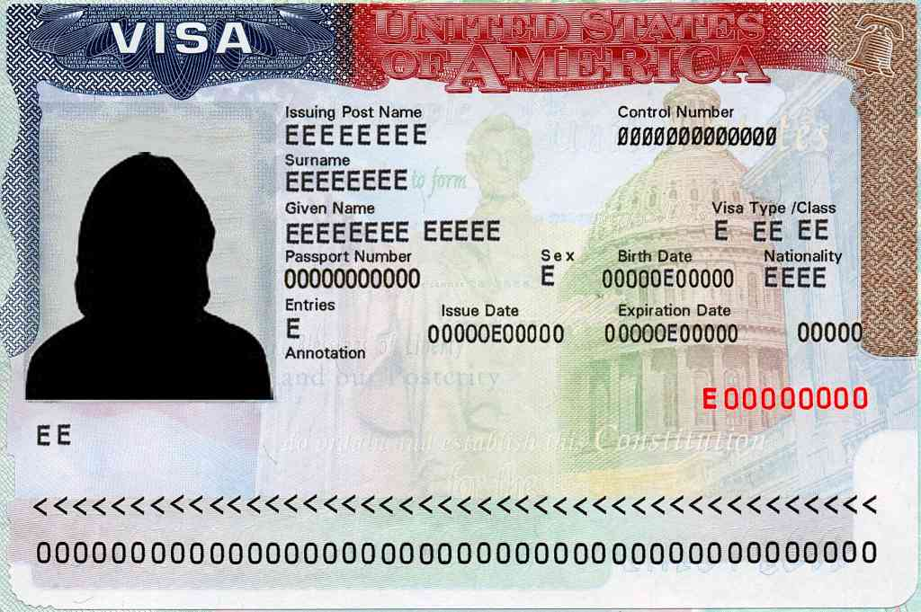 Picture of the US Visa on the passport. All the fields are marked with letter 'E'.
