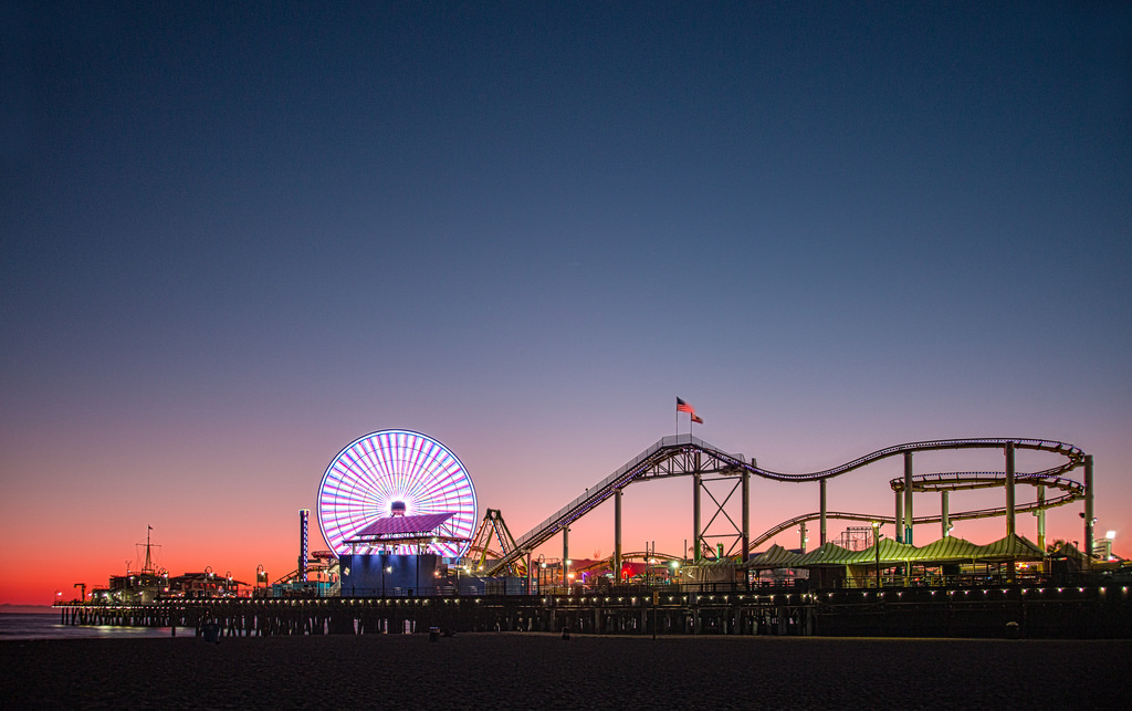 NIght shot of the Santa Monica pier with the view of roller coaters