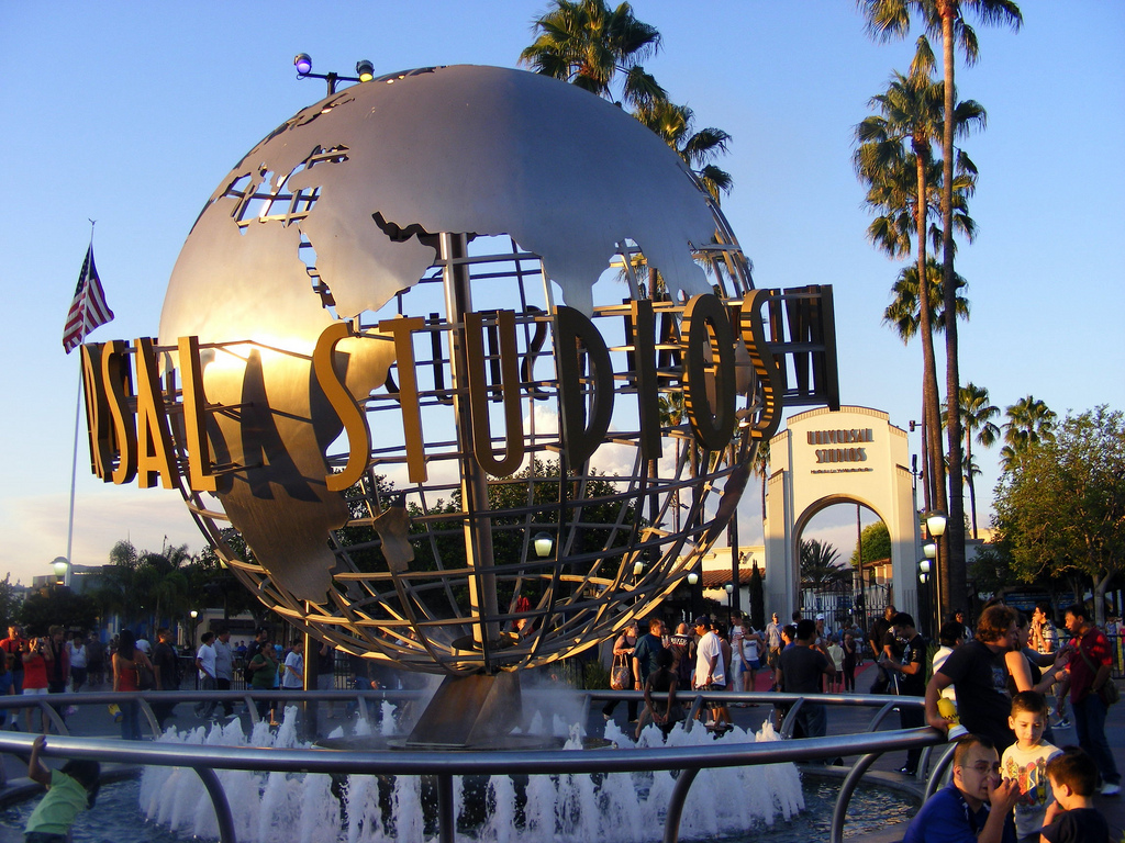 Big globe with Universal Studios at the entrance of the theme park in Los Angeles